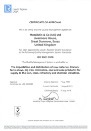 ISO9001 MetalMin Certificate of Approval